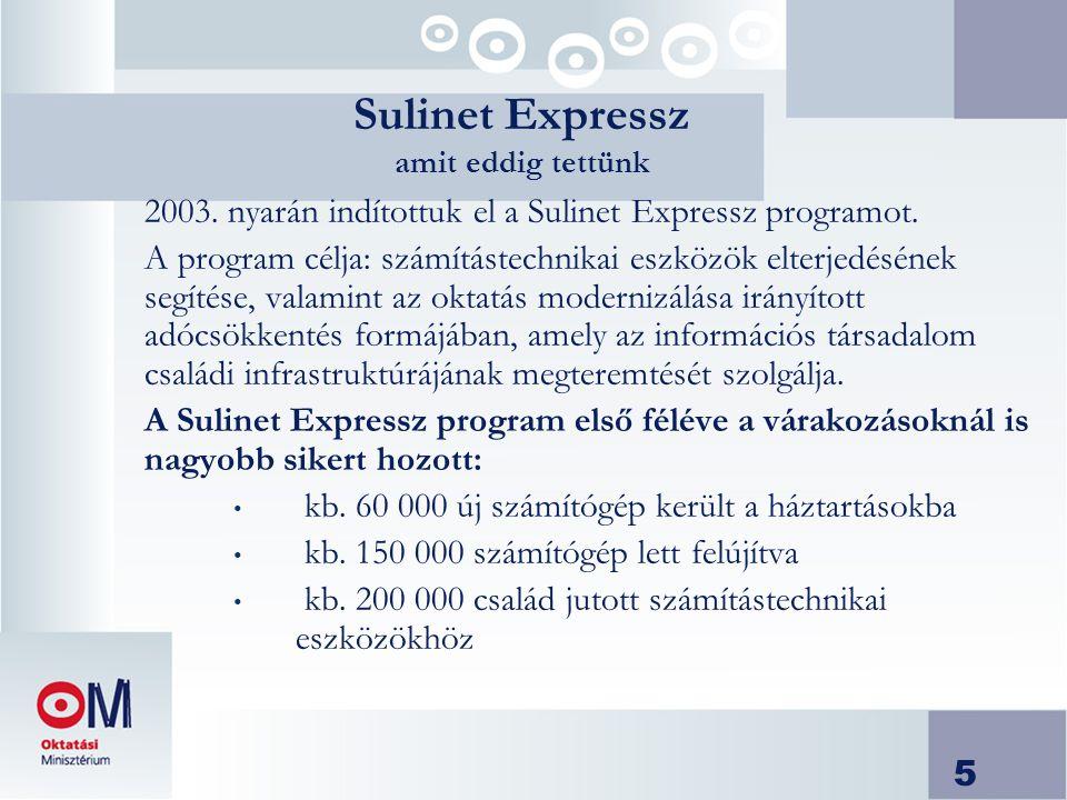 5 2003. nyarán indítottuk el a Sulinet Expressz programot.