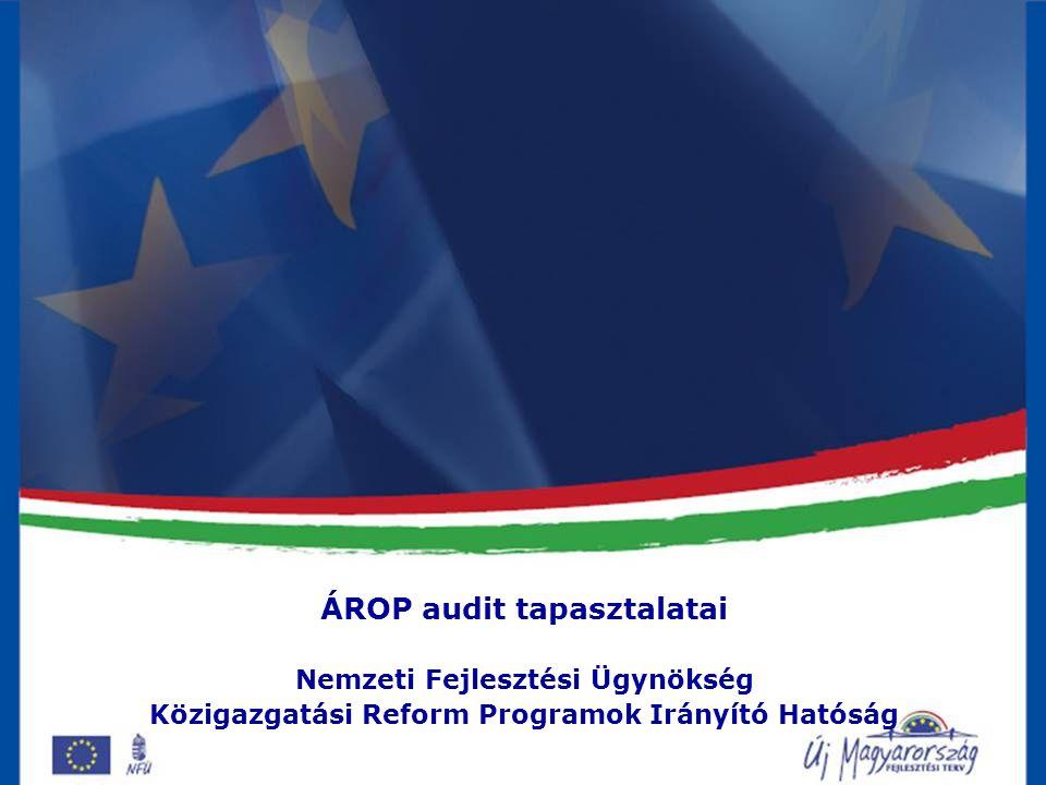 Audit Téma: rendszerellenőrzés és 5 kiemelt projekt ellenőrzése Helyszíni vizsgálat: 2 hét 2009.
