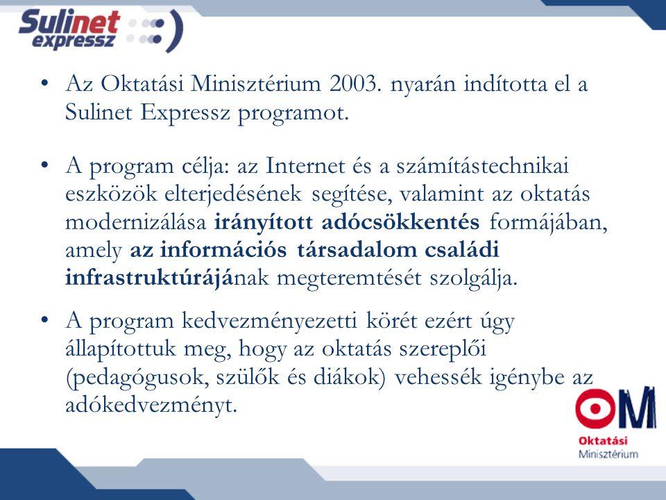 Az Oktatási Minisztérium 2003. nyarán indította el a Sulinet Expressz programot.