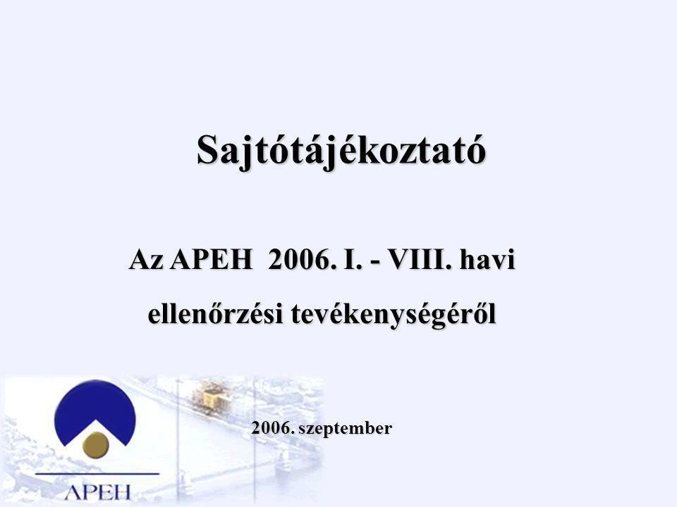 Sajtótájékoztató Az APEH 2006. I. - VIII. havi ellenőrzési tevékenységéről 2006. szeptember