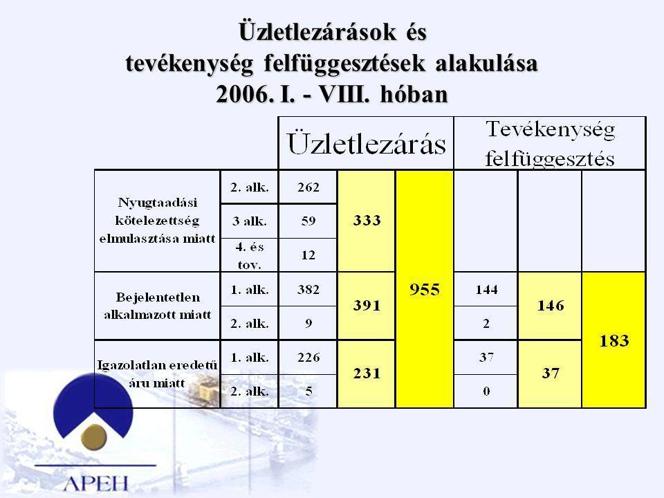 Üzletlezárások és tevékenység felfüggesztések alakulása 2006. I. - VIII. hóban