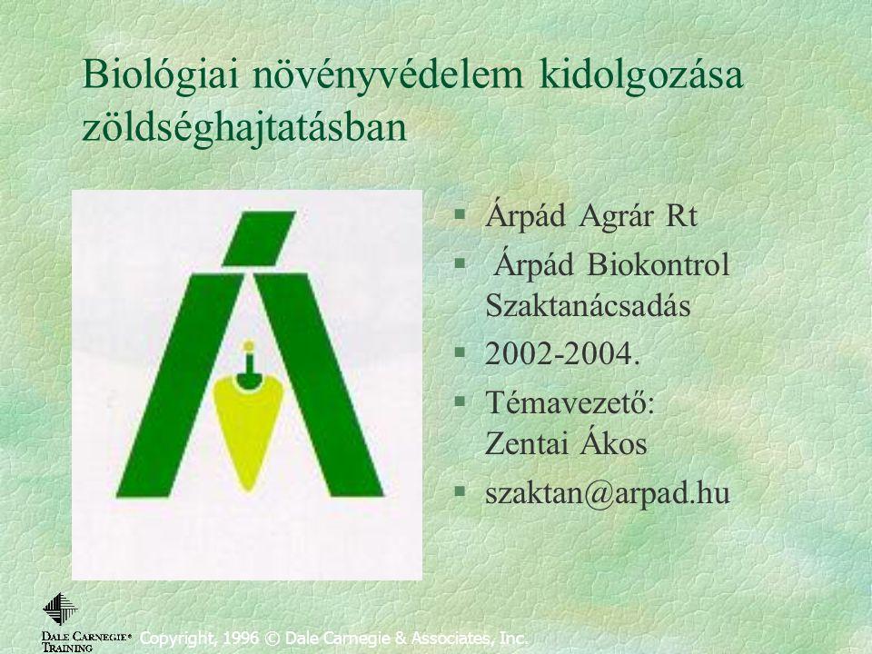 Biológiai növényvédelem kidolgozása zöldséghajtatásban Copyright, 1996 © Dale Carnegie & Associates, Inc. §Árpád Agrár Rt § Árpád Biokontrol Szaktanác