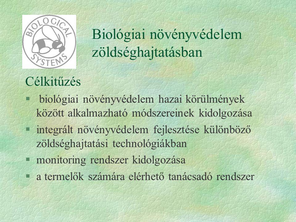 Biológiai növényvédelem zöldséghajtatásban Célkitűzés § biológiai növényvédelem hazai körülmények között alkalmazható módszereinek kidolgozása §integr