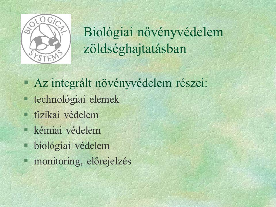 Biológiai növényvédelem zöldséghajtatásban §Az integrált növényvédelem részei: §technológiai elemek §fizikai védelem §kémiai védelem §biológiai védele