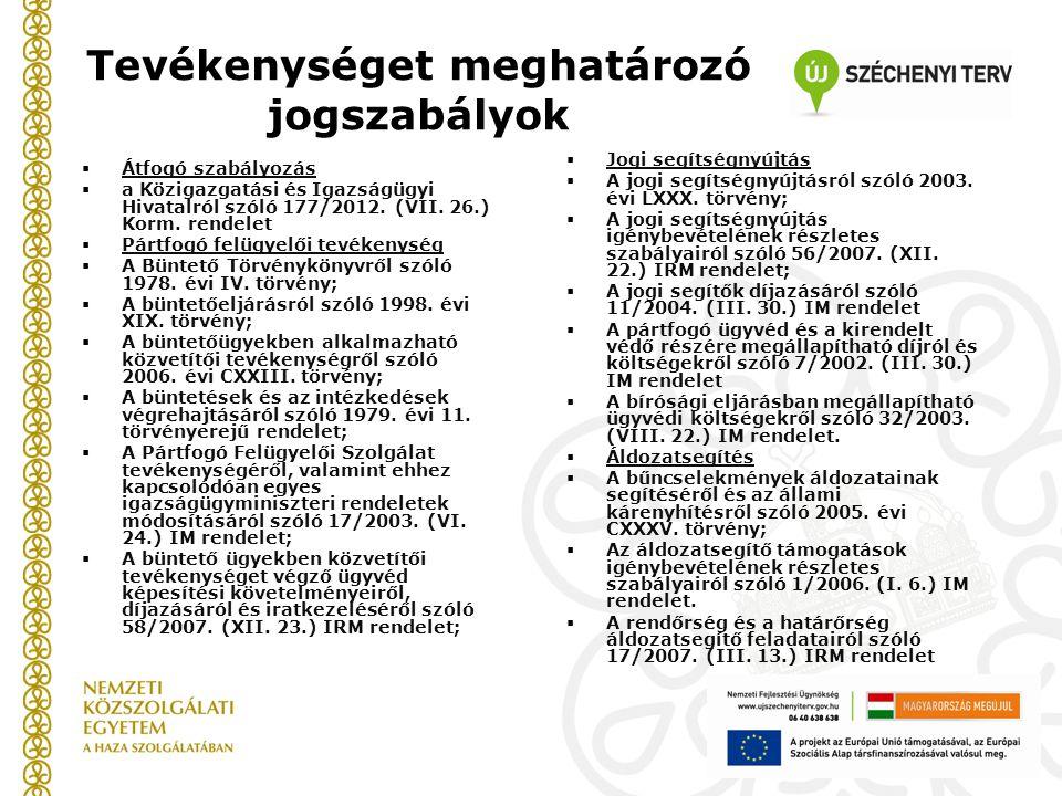 Tevékenységet meghatározó jogszabályok  Átfogó szabályozás  a Közigazgatási és Igazságügyi Hivatalról szóló 177/2012. (VII. 26.) Korm. rendelet  Pá