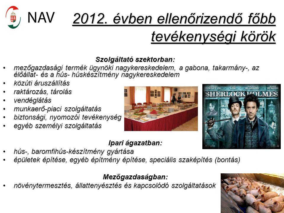 2012. évben ellenőrizendő főbb tevékenységi körök Szolgáltató szektorban: mezőgazdasági termék ügynöki nagykereskedelem, a gabona, takarmány-, az élőá