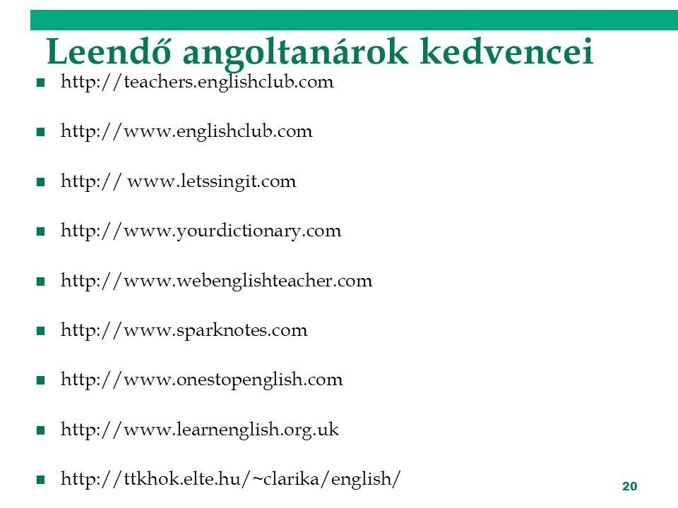 20 Leendő angoltanárok kedvencei http://teachers.englishclub.com http://www.englishclub.com http:// www.letssingit.com http://www.yourdictionary.com http://www.webenglishteacher.com http://www.sparknotes.com http://www.onestopenglish.com http://www.learnenglish.org.uk http://ttkhok.elte.hu/~clarika/english/