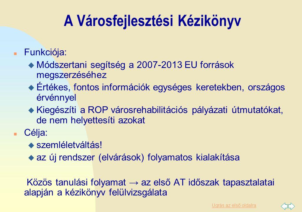 Ugrás az első oldalra A Városfejlesztési Kézikönyv n Funkciója: u Módszertani segítség a 2007-2013 EU források megszerzéséhez u Értékes, fontos inform