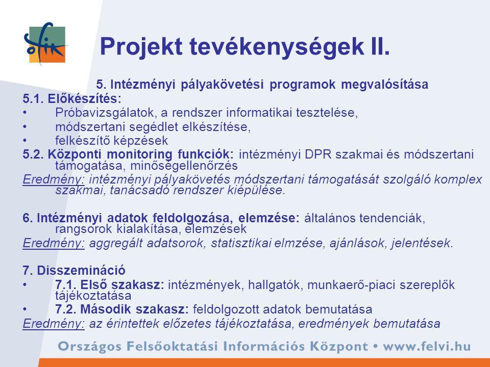 Projekt tevékenységek II. 5. Intézményi pályakövetési programok megvalósítása 5.1. Előkészítés: Próbavizsgálatok, a rendszer informatikai tesztelése,