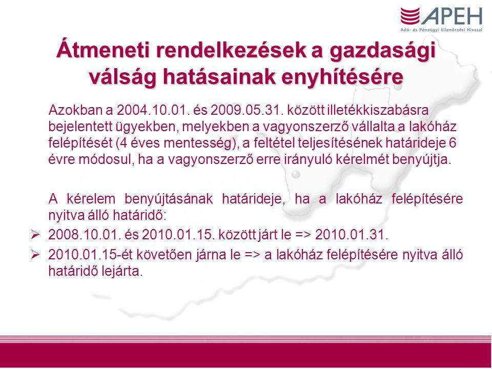 10 Átmeneti rendelkezések a gazdasági válság hatásainak enyhítésére Azokban a 2004.10.01. és 2009.05.31. között illetékkiszabásra bejelentett ügyekben