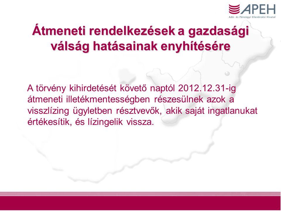 12 Átmeneti rendelkezések a gazdasági válság hatásainak enyhítésére A törvény kihirdetését követő naptól 2012.12.31-ig átmeneti illetékmentességben ré