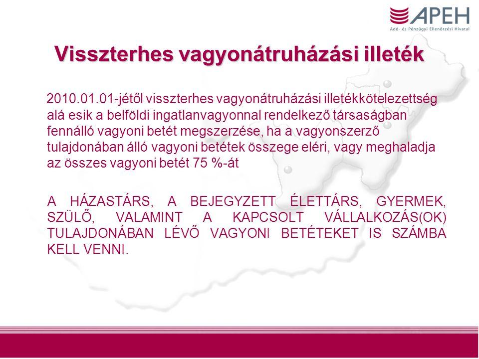 3 Visszterhes vagyonátruházási illeték 2010.01.01-jétől visszterhes vagyonátruházási illetékkötelezettség alá esik a belföldi ingatlanvagyonnal rendel