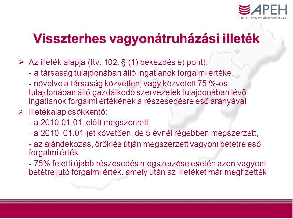 6 Visszterhes vagyonátruházási illeték  Az illetéket az összeszámítandó vagyoni betétek tulajdonosai külön- külön kötelesek megfizetni a tulajdonukban levő vagyoni betétek alapján számított illetékalap után.