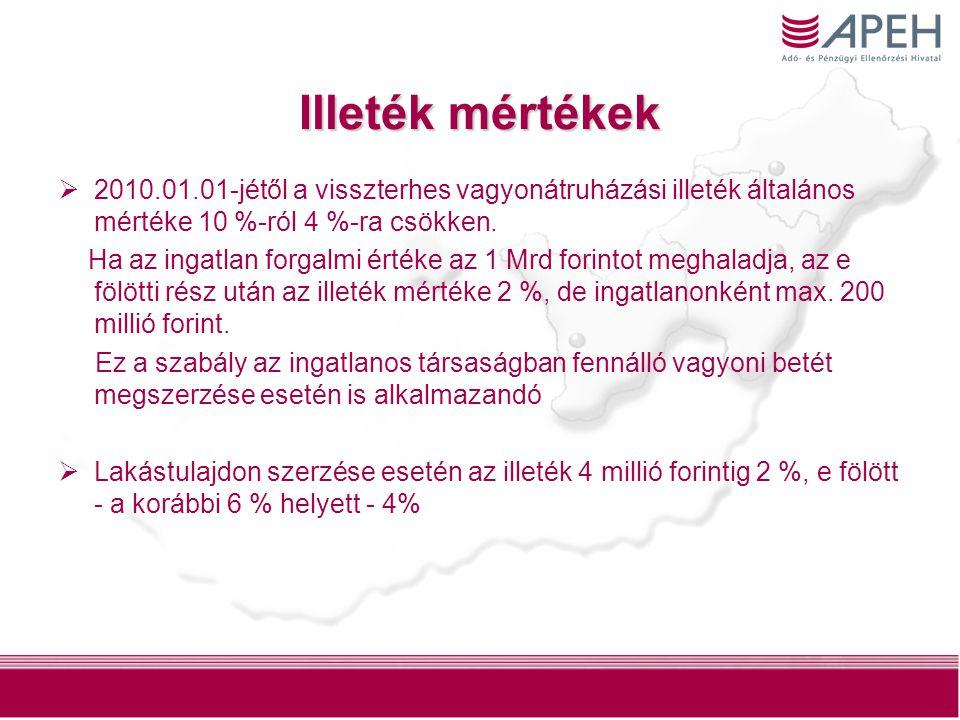 7 Illeték mértékek  2010.01.01-jétől a visszterhes vagyonátruházási illeték általános mértéke 10 %-ról 4 %-ra csökken. Ha az ingatlan forgalmi értéke