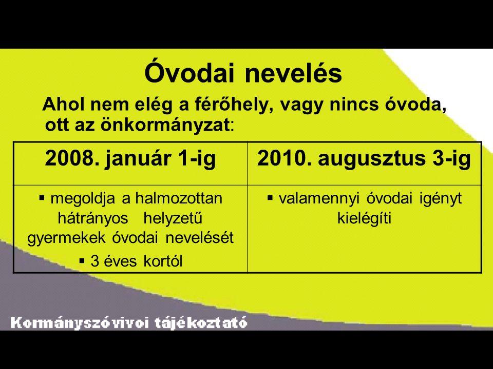 Óvodai nevelés Ahol nem elég a férőhely, vagy nincs óvoda, ott az önkormányzat: 2008. január 1-ig2010. augusztus 3-ig  megoldja a halmozottan hátrány