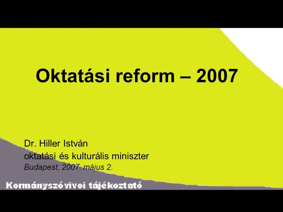 Oktatási reform – 2007 Dr. Hiller István oktatási és kulturális miniszter Budapest, 2007. május 2.