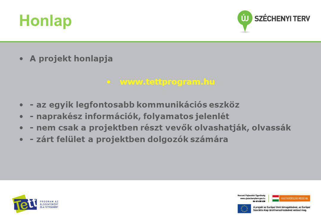 Honlap A projekt honlapja www.tettprogram.hu - az egyik legfontosabb kommunikációs eszköz - naprakész információk, folyamatos jelenlét - nem csak a projektben részt vevők olvashatják, olvassák - zárt felület a projektben dolgozók számára