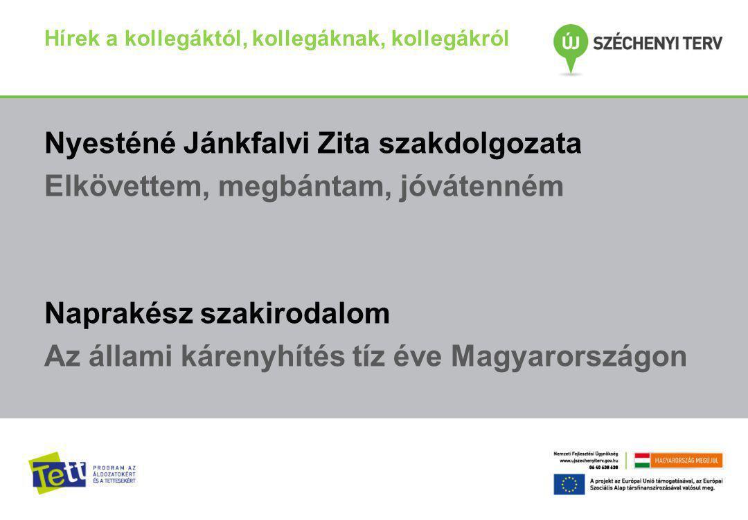 Hírek a kollegáktól, kollegáknak, kollegákról Nyesténé Jánkfalvi Zita szakdolgozata Elkövettem, megbántam, jóvátenném Naprakész szakirodalom Az állami kárenyhítés tíz éve Magyarországon