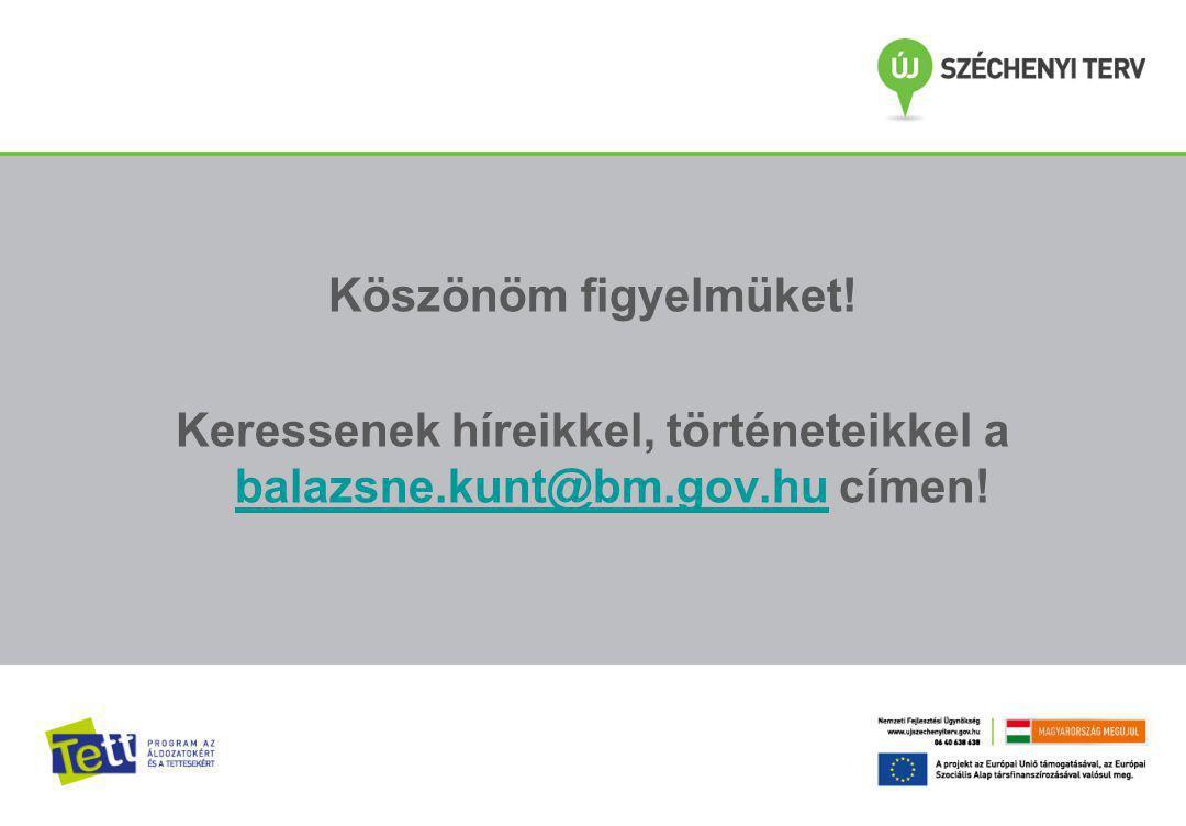Köszönöm figyelmüket. Keressenek híreikkel, történeteikkel a balazsne.kunt@bm.gov.hu címen.