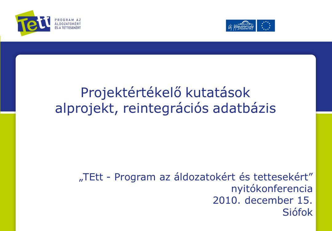 """Projektértékelő kutatások alprojekt, reintegrációs adatbázis """"TEtt - Program az áldozatokért és tettesekért nyitókonferencia 2010."""