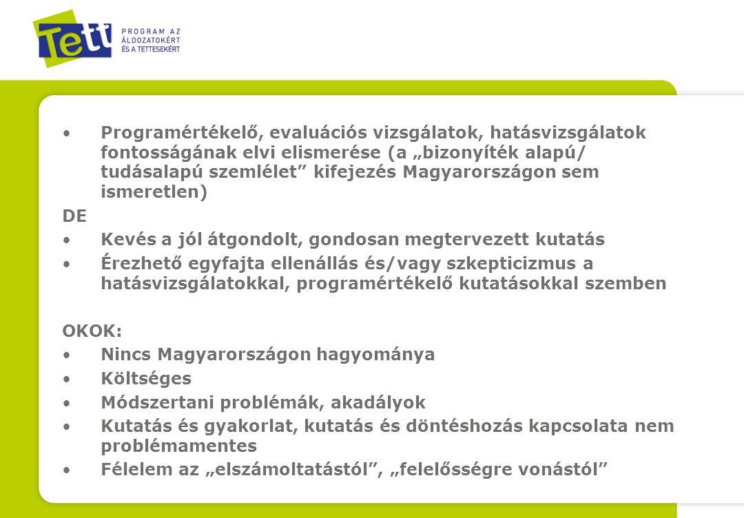 """Programértékelő, evaluációs vizsgálatok, hatásvizsgálatok fontosságának elvi elismerése (a """"bizonyíték alapú/ tudásalapú szemlélet kifejezés Magyarországon sem ismeretlen) DE Kevés a jól átgondolt, gondosan megtervezett kutatás Érezhető egyfajta ellenállás és/vagy szkepticizmus a hatásvizsgálatokkal, programértékelő kutatásokkal szemben OKOK: Nincs Magyarországon hagyománya Költséges Módszertani problémák, akadályok Kutatás és gyakorlat, kutatás és döntéshozás kapcsolata nem problémamentes Félelem az """"elszámoltatástól , """"felelősségre vonástól E"""