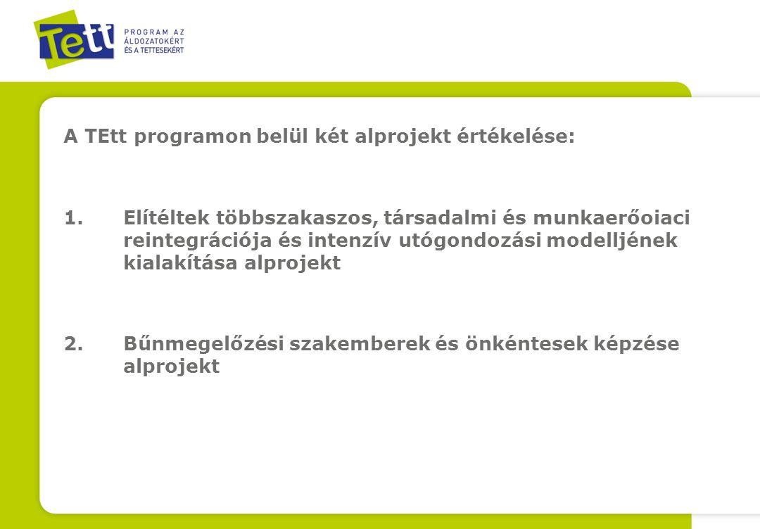 A TEtt programon belül két alprojekt értékelése: 1.Elítéltek többszakaszos, társadalmi és munkaerőoiaci reintegrációja és intenzív utógondozási modelljének kialakítása alprojekt 2.Bűnmegelőzési szakemberek és önkéntesek képzése alprojekt