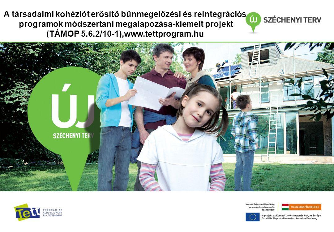A társadalmi kohéziót erősítő bűnmegelőzési és reintegrációs programok módszertani megalapozása-kiemelt projekt (TÁMOP 5.6.2/10-1),www.tettprogram.hu