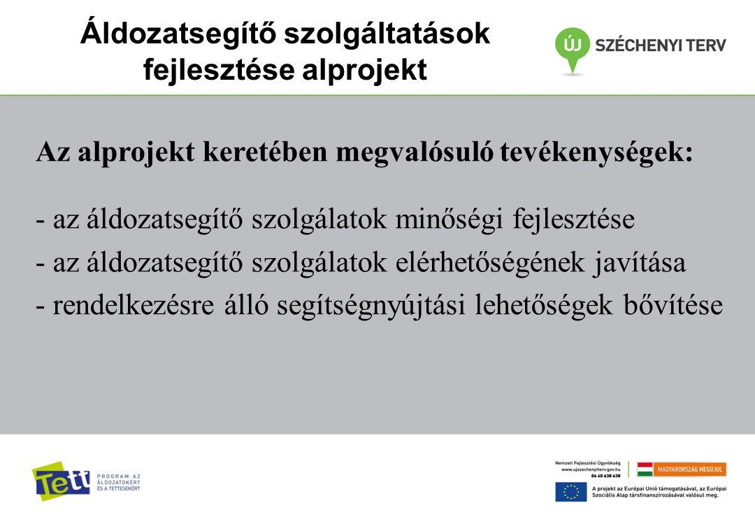 Az alprojekt keretében megvalósuló tevékenységek: - az áldozatsegítő szolgálatok minőségi fejlesztése - az áldozatsegítő szolgálatok elérhetőségének j