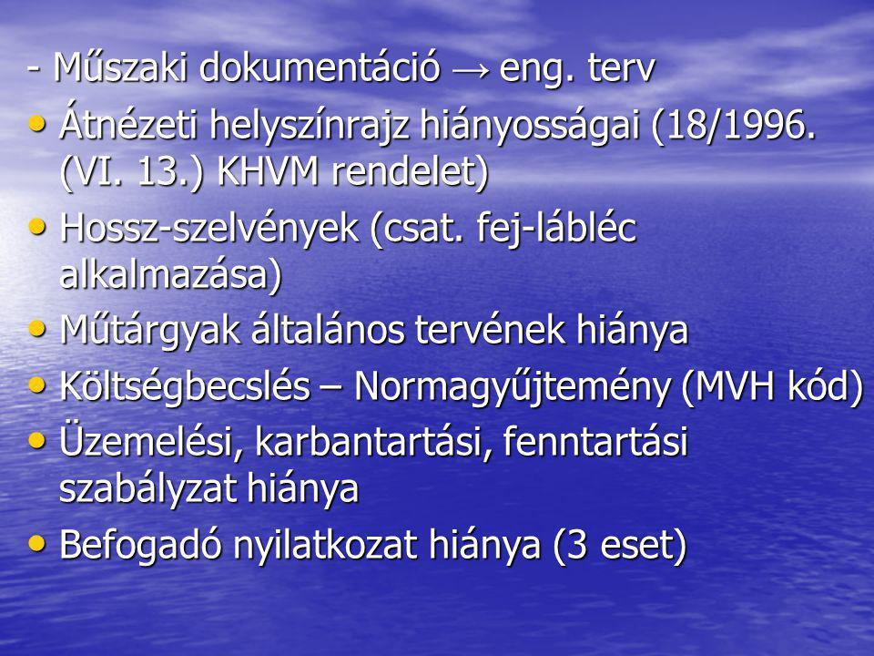- Műszaki dokumentáció → eng. terv Átnézeti helyszínrajz hiányosságai (18/1996.