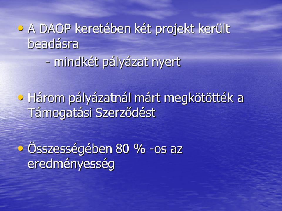 A DAOP keretében két projekt került beadásra A DAOP keretében két projekt került beadásra - mindkét pályázat nyert Három pályázatnál márt megkötötték a Támogatási Szerződést Három pályázatnál márt megkötötték a Támogatási Szerződést Összességében 80 % -os az eredményesség Összességében 80 % -os az eredményesség