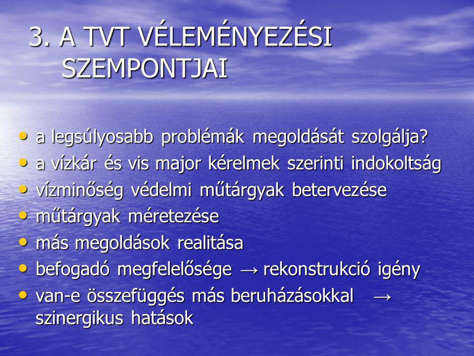 3. A TVT VÉLEMÉNYEZÉSI SZEMPONTJAI a legsúlyosabb problémák megoldását szolgálja.