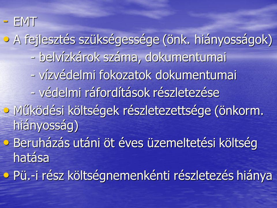 - EMT A fejlesztés szükségessége (önk. hiányosságok) A fejlesztés szükségessége (önk.