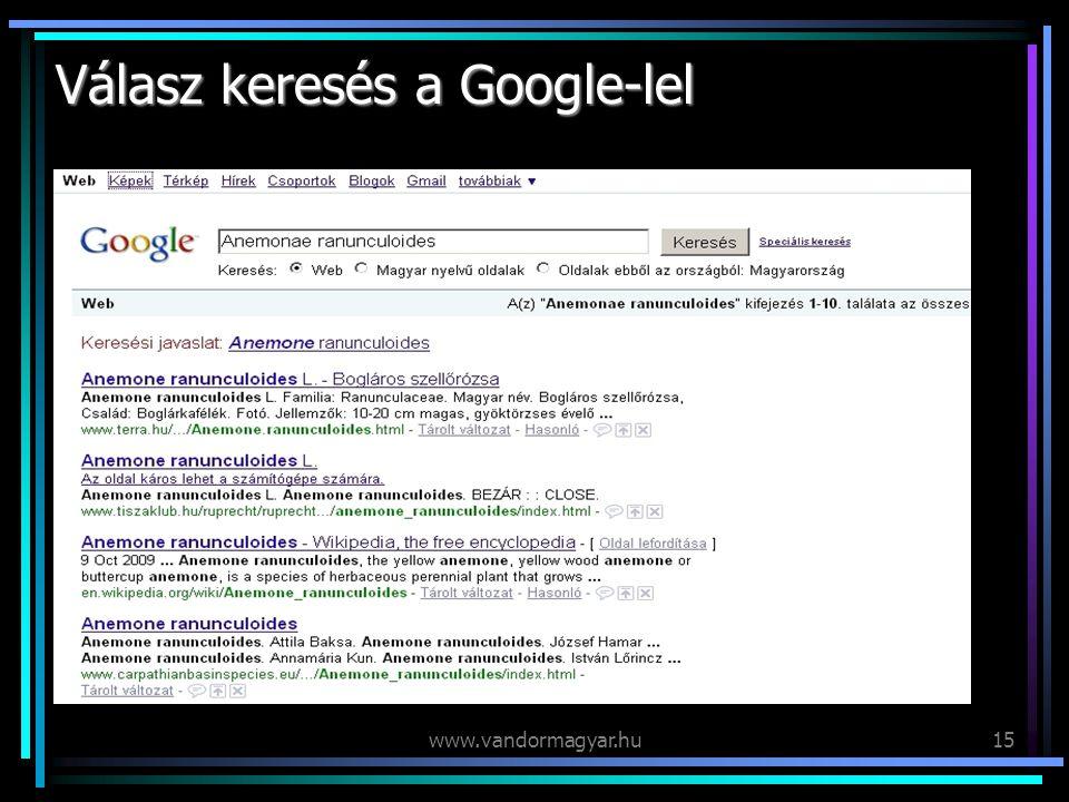 www.vandormagyar.hu15 Válasz keresés a Google-lel