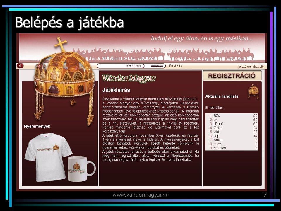 www.vandormagyar.hu8 Regisztráció