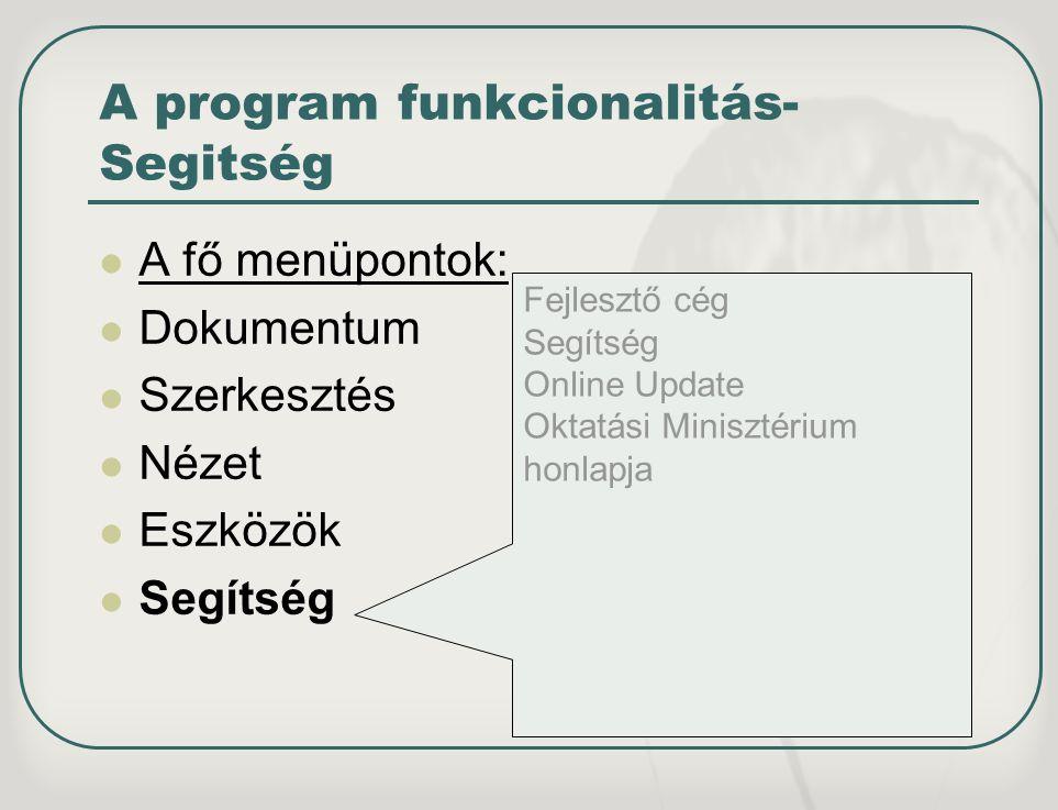 A program funkcionalitás- Segitség A fő menüpontok: Dokumentum Szerkesztés Nézet Eszközök Segítség Fejlesztő cég Segítség Online Update Oktatási Minis