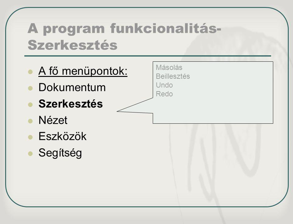 A program funkcionalitás- Szerkesztés A fő menüpontok: Dokumentum Szerkesztés Nézet Eszközök Segítség Másolás Beillesztés Undo Redo