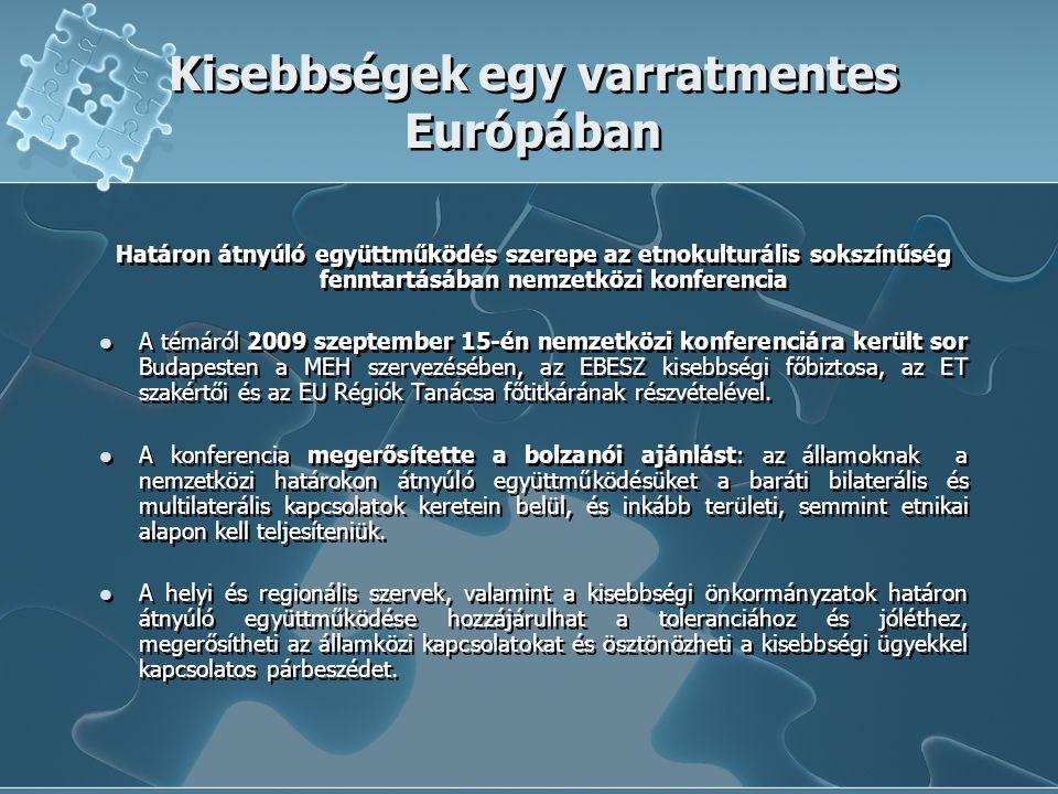Kisebbségek egy varratmentes Európában Határon átnyúló együttműködés szerepe az etnokulturális sokszínűség fenntartásában nemzetközi konferencia A témáról 2009 szeptember 15-én nemzetközi konferenciára került sor Budapesten a MEH szervezésében, az EBESZ kisebbségi főbiztosa, az ET szakértői és az EU Régiók Tanácsa főtitkárának részvételével.