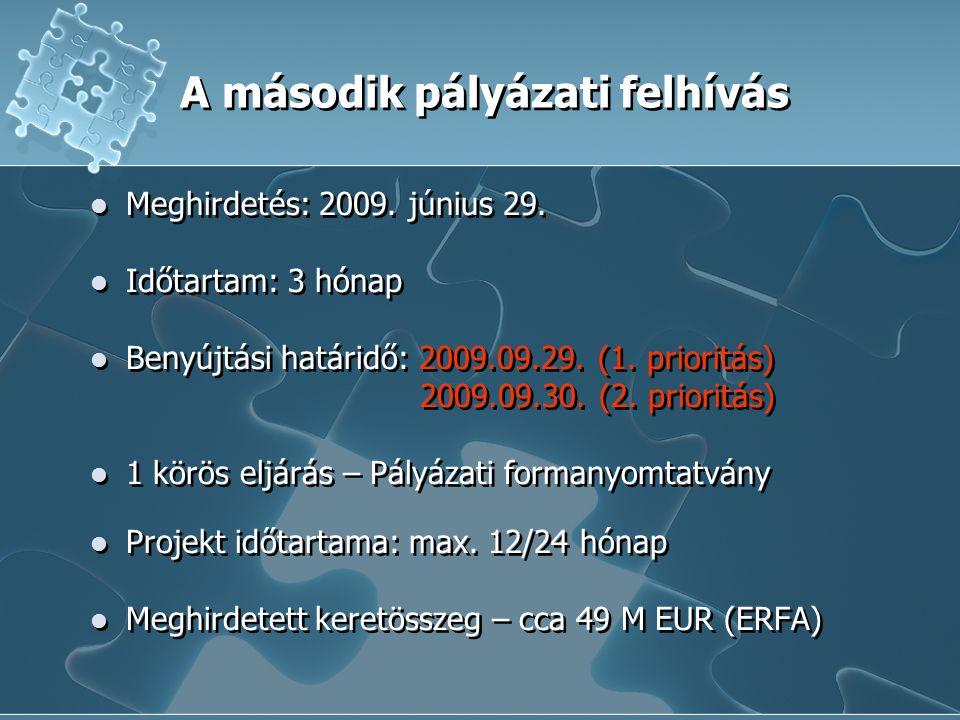 A második pályázati felhívás Meghirdetés: 2009.június 29.