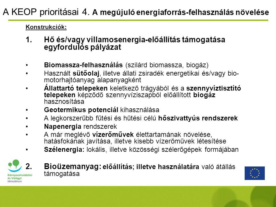 A KEOP prioritásai 4. A megújuló energiaforrás-felhasználás növelése Konstrukciók: 1.Hő és/vagy villamosenergia-előállítás támogatása egyfordulós pály