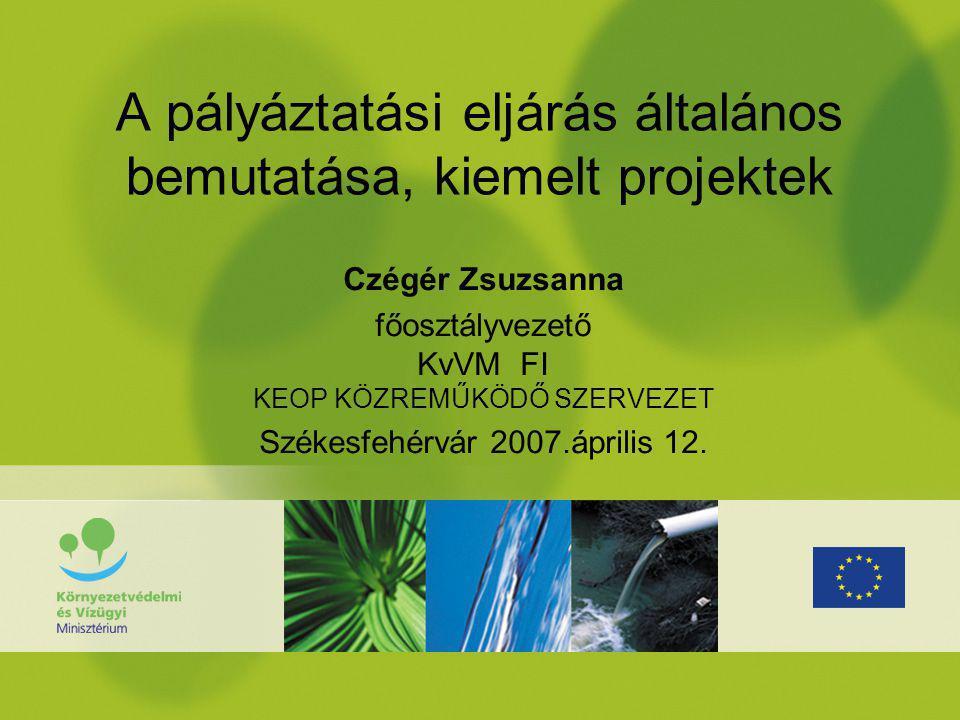 A pályáztatási eljárás általános bemutatása, kiemelt projektek Czégér Zsuzsanna főosztályvezető KvVM FI KEOP KÖZREMŰKÖDŐ SZERVEZET Székesfehérvár 2007.április 12.
