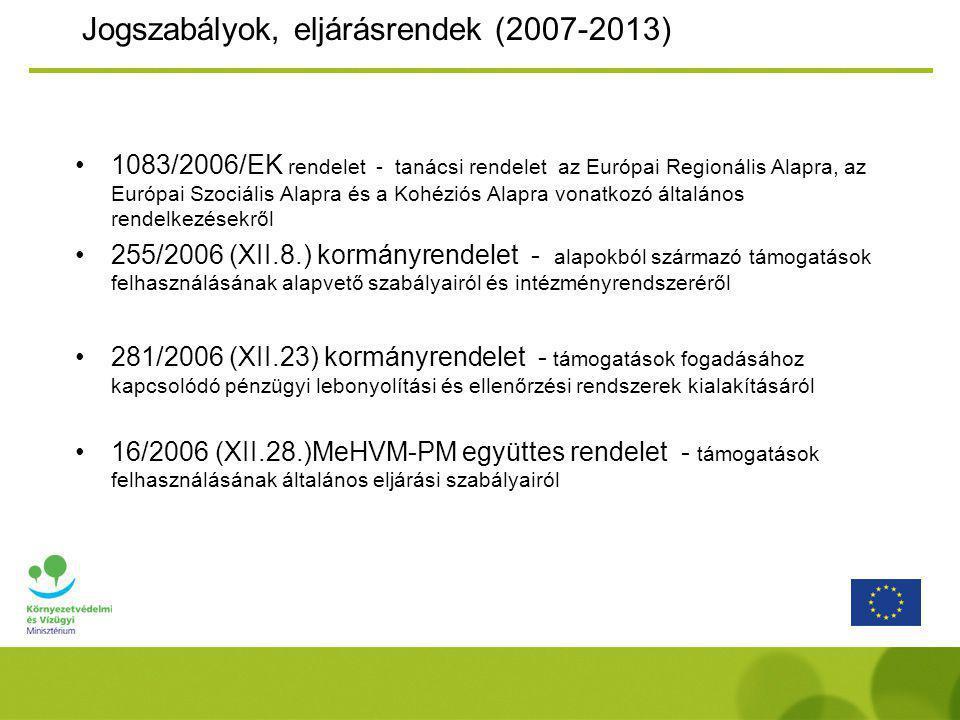 Jogszabályok, eljárásrendek (2007-2013) 1083/2006/EK rendelet - tanácsi rendelet az Európai Regionális Alapra, az Európai Szociális Alapra és a Kohéziós Alapra vonatkozó általános rendelkezésekről 255/2006 (XII.8.) kormányrendelet - alapokból származó támogatások felhasználásának alapvető szabályairól és intézményrendszeréről 281/2006 (XII.23) kormányrendelet - támogatások fogadásához kapcsolódó pénzügyi lebonyolítási és ellenőrzési rendszerek kialakításáról 16/2006 (XII.28.)MeHVM-PM együttes rendelet - támogatások felhasználásának általános eljárási szabályairól