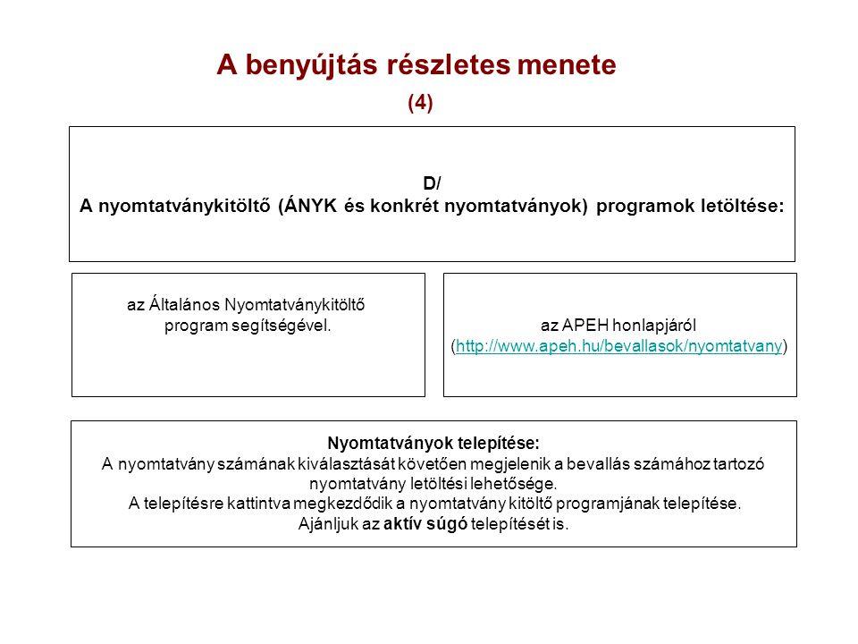 A benyújtás részletes menete (4) az Általános Nyomtatványkitöltő program segítségével. az APEH honlapjáról (http://www.apeh.hu/bevallasok/nyomtatvany)