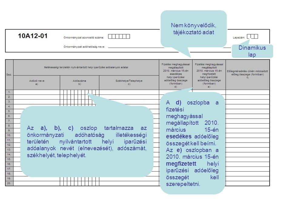 Nem könyvelődik, tájékoztató adat Dinamikus lap Az a), b), c) oszlop tartalmazza az önkormányzati adóhatóság illetékességi területén nyilvántartott he
