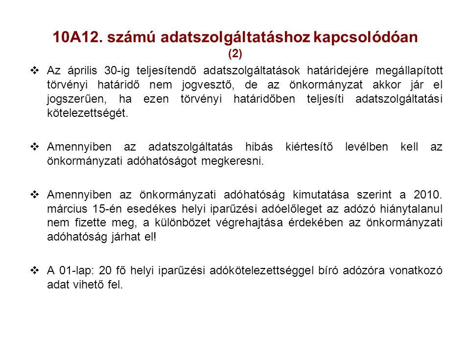 10A12. számú adatszolgáltatáshoz kapcsolódóan (2)  Az április 30-ig teljesítendő adatszolgáltatások határidejére megállapított törvényi határidő nem