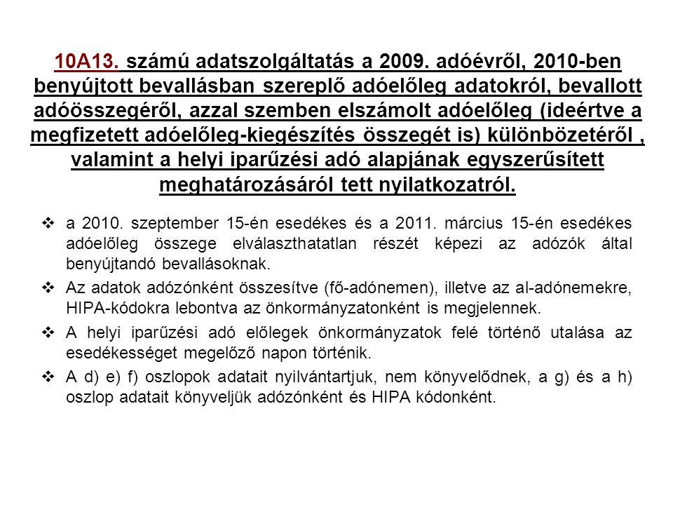 10A13. számú adatszolgáltatás a 2009. adóévről, 2010-ben benyújtott bevallásban szereplő adóelőleg adatokról, bevallott adóösszegéről, azzal szemben e