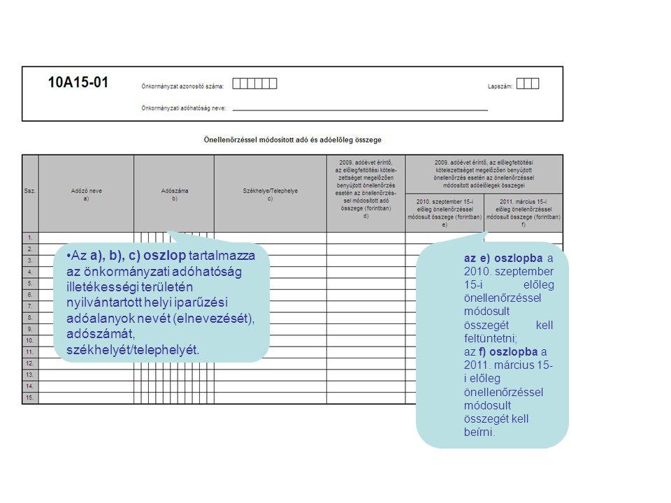 az e) oszlopba a 2010. szeptember 15-i előleg önellenőrzéssel módosult összegét kell feltüntetni; az f) oszlopba a 2011. március 15- i előleg önellenő