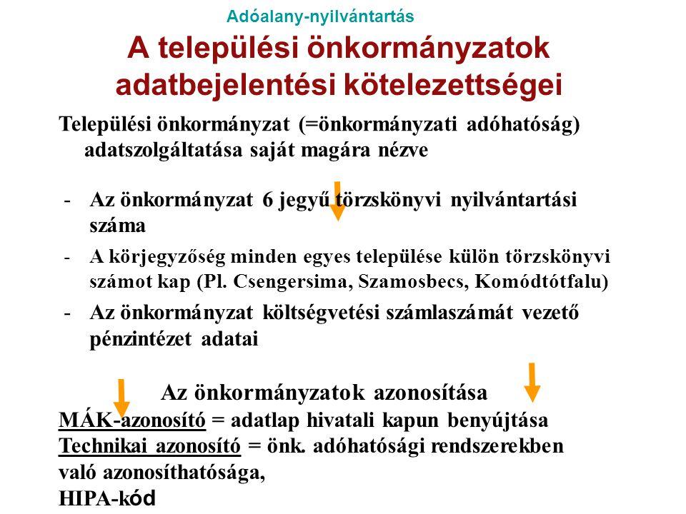 Adóalany-nyilvántartás A települési önkormányzatok adatbejelentési kötelezettségei Települési önkormányzat (=önkormányzati adóhatóság) adatszolgáltatá