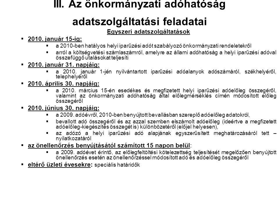 Az önkormányzatok adatszolgáltatási kötelezettsége (2)  2009.