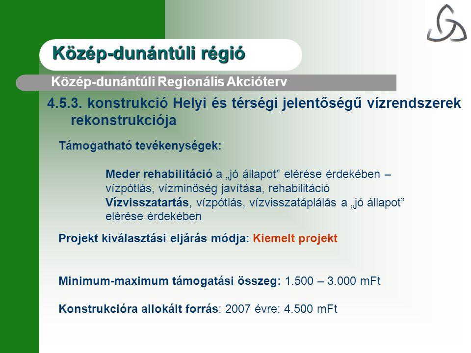 """Közép-dunántúli régió 4.5.3. konstrukció Helyi és térségi jelentőségű vízrendszerek rekonstrukciója Támogatható tevékenységek: Meder rehabilitáció a """""""