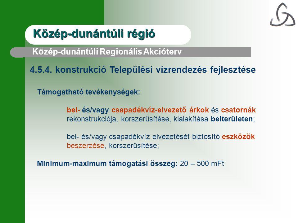 Közép-dunántúli régió 4.5.4. konstrukció Települési vízrendezés fejlesztése Támogatható tevékenységek: bel- és/vagy csapadékvíz-elvezető árkok és csat